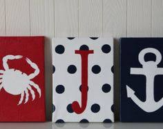 Items Similar To Nautical Anchor - nautical chevron anchor red white and blue printable wall art