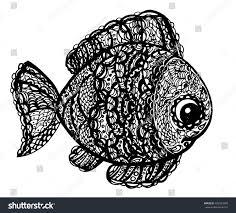fish paisley mehndi doodle style cartoon stock vector 420533356