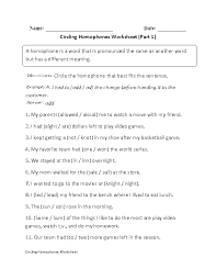 parts of speech worksheets for middle free worksheets