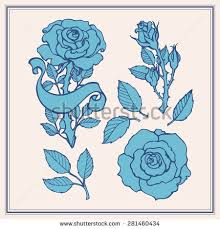 rose tattoo set sticker patch collection stock vector 512473426