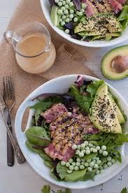 Tuna Salad Mediterranean Style Seared Ahi Tuna Salad With Sesame Dressing The Organic Dietitian