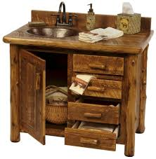 Reclaimed Wood Vanity Table Astonishing Rustic Bath Vanity Cabinets From Log Timber Furniture