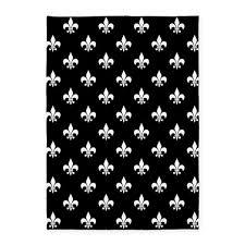 Fleur De Lis Area Rug Black And White Fleur De Lis 5 X7 Area Rug By Hhtrendyhome