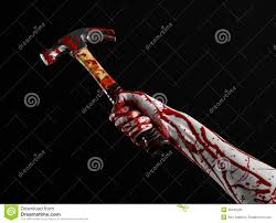 halloween theme background bloody halloween theme bloody hand holding a bloody hammer