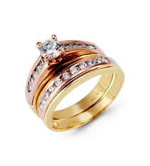 Rose Gold Wedding Ring Sets by 14k Yellow Rose Gold Round Cz Channel Wedding Ring Set
