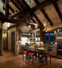 beetle kill pine cabinets kitchen rustic with pitched ceiling