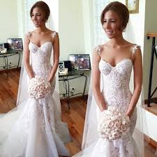 lace mermaid wedding dresses chic spaghetti straps lace appliques mermaid wedding dresses