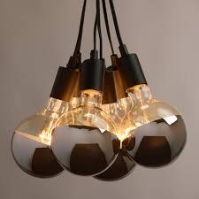 chrome tip 6 bulb cluster pendant lamp industrial design light