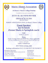 Guest Invitation Card Alumni Dinner 2014 U2013 Ian Mcintosh Is Guest Speaker U2013 The Marist