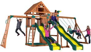 Amazon Backyard Playsets by Backyards Cozy Backyard Discovery Thunder Ridge All Cedar