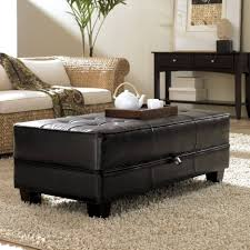 ottomans 4 tray top black leather storage ottoman coffee table