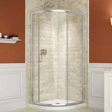 bathroom grey wall paint with glass corner shower stall and