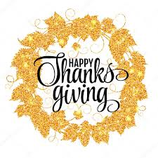 happy thanksgiving day give thanks autumn gold glitter design