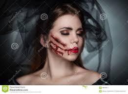 halloween zombie bride makeup dead bride horror stock photo image 68609911