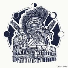 spartan helmet crossed swords spartan shield and colosseum tattoo