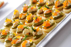 canapes with prawns prawns and tangerine pearls peninsula larder