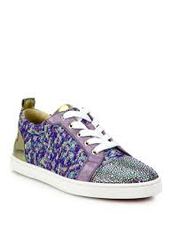 lyst christian louboutin gondolastrass low top sneakers in purple