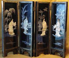 Japanese Bar Cabinet Mother Of Pearl Figural Floral Chinese Scene Black Liquor Cabinet