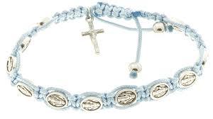 rosary bracelet 10 miraculous medal corded rosary bracelet light blue and prayer