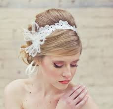 wedding headbands wedding lace tie headband with feathers wedding