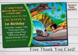 Jungle Theme Invitation Card Disney U0027s Jungle Book Birthday