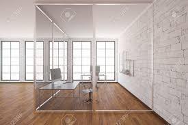 modern glass box office interior with wooden floor white brick