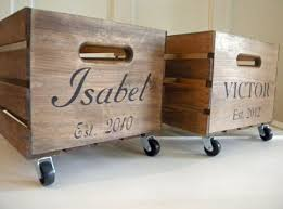 farmhouse personalized wooden crate with industrial caster wheels