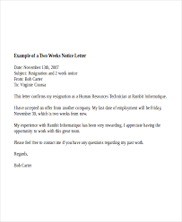 notice letter template to employer 7 2 week notice letter example