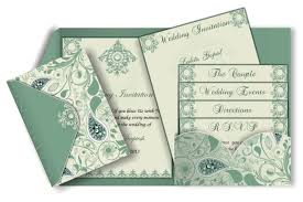 Wedding Inserts Pocket Fold Card With Paisley In Olive Green