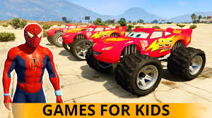 monster trucks kid video monster trucks lightning mcqueen spiderman cars cartoon nursery