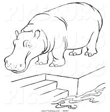 clip art of a zoo hippo standing on a pool platform with stairs