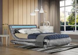 curved bed frame modern designer curved crushed velvet bed frame with led strip