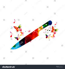 colorful kitchen knife design butterflies stock vector 243417313