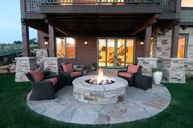 patio ideas back patio with firepit in tuhaye home built by