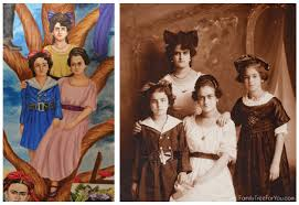 photo to painting of frida kahlo s sisters matilde adriana and cristina