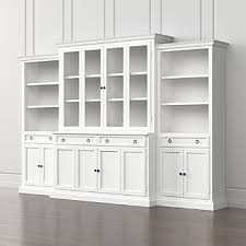 Bookcase With Doors White Wood Bookcases Crate And Barrel
