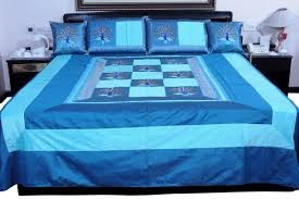 bed shoppong on line buy 5 piece blue jaipuri silk double bed cover set 317 online