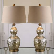 lighting gold mercury glass table lamp with white drum shade for