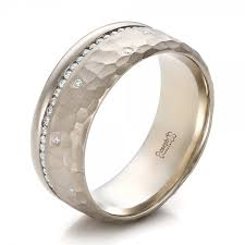 mens diamond engagement rings custom men s diamond and hammered finish wedding band 100611