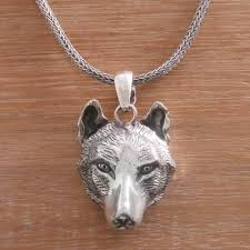 silver wolf pendant necklace images Handcrafted sterling silver wolf head pendant necklace wolf novica jpg