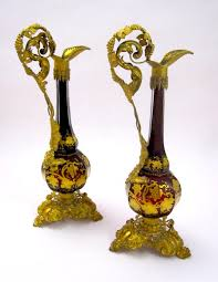 Ruby Vases Pair Antique Bohemian Ruby Red Glass Vases In Sold Bohemian Glass