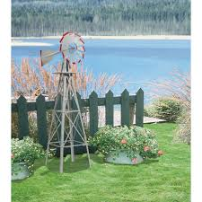 8ft ornamental garden windmill u2014 galvanized steel finish with red