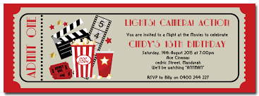 personalised movie ticket style birthday invitation