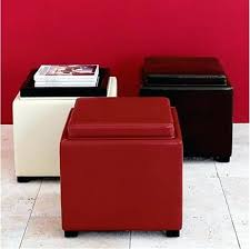 Hinged Storage Ottoman Red Storage Ottoman Bench Red Leather Storage Ottoman Bench Red