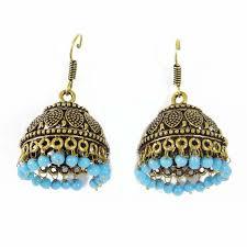 jhumka earring gold tone metal blue acrylic beaded ethnic jhumka earring set