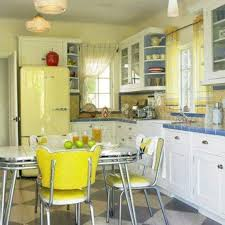 nice retro kitchen style with yellow accents and white cabinets