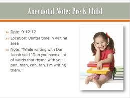 anecdotal note sample preschool teaching strategies gold