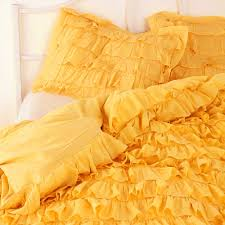 girls frilly bedding yellow waterfall ruffle bedding set