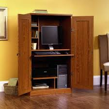 Locking Computer Armoire Home Office A Kitchen Desk Into Cabinet Space Tutorial