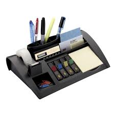 office desk organizer set 3m weighted desktop organizer black 1 each quickship com